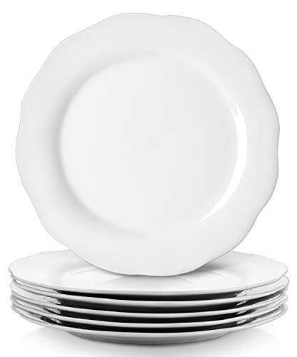 YHY Dinner Plate Set, Porcelain Serving Plates, 10.6 Inches, Scallop Design, White, Set of 6