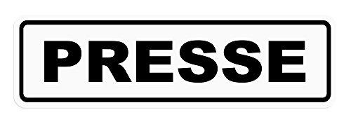 LOHOFOL Magnetschild Presse | Schild magnetisch | schwarz/Weiss, lieferbar in DREI Größen (35 x 10 cm)