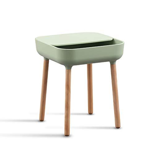 trand Lund Beistelltisch Nachttisch Couchtisch | Bunte Trendfarben | skandinavisches Design | Ablage und Kabeldurchlass | Holz/Kunststoff | 40x40 cm | (Green/grün)