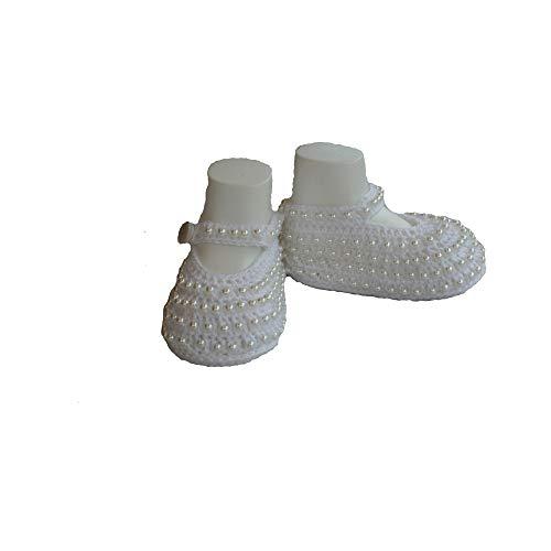 Zapatos ganchillo perlas ideales bautizo días especiales