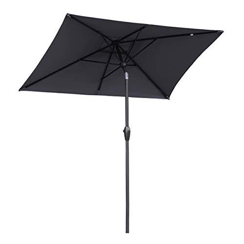 Sekey Ombrellone Parasole in Alluminio, 210 × 140 cm, per Giardino, terrazza, Protezione Solare UV 50+,Grigio Rettangolare