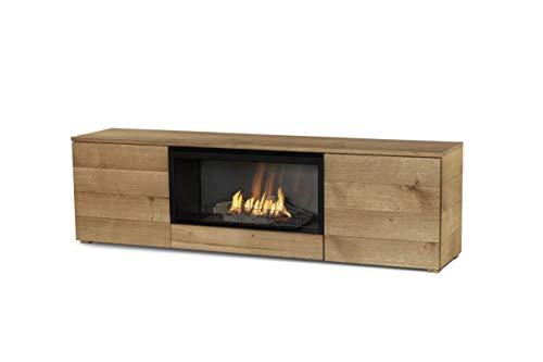Planika Pure Flame TV Box met automatische ethanol brander: zonder mesh-vlechtwerk, zonder afstandsbediening, natuurlijk eikenfineer