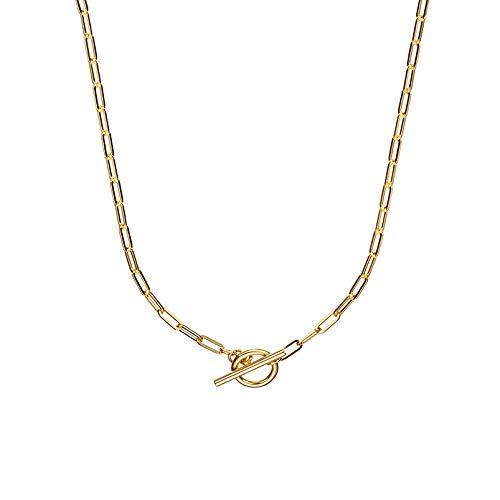 Brandlinger ® Atelier Paperclip Halskette für Damen aus vergoldetem 925 Sterling Silber. Länge der Goldkette 40 cm (Gold)