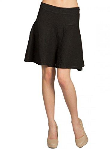 Caspar RO013 Damen Sommer Leinenrock, Farbe:schwarz, Größe:M - DE38 UK10 IT42 ES40 US8