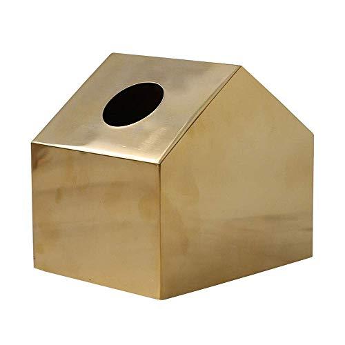 COLiJOL Soporte de Papel Soporte de Caja de Pañuelos de Metal, Adorable Caja de Papel Facial con Forma de Casa Espejo Dispensador de Papel Cuadrado Organizador de Servilletas para Baño, Dormitorio U