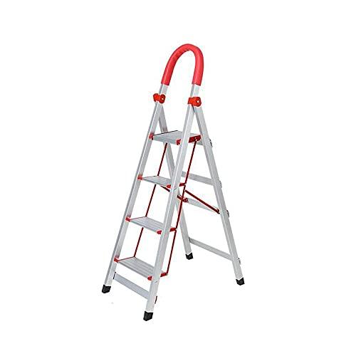 FXLYMR Escaleras Taburetes Plegables de Escalera Telescópica, Taburete Plegable de Escalera de Aluminio Grueso 3 Niveles / 4 Niveles / 5 Niveles Portátil Ligero para Interiores Y Exteriores,140Cm