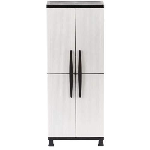 hdx storage cabinets HDX 27 in. W 4-Shelf Plastic Multi-Purpose Tall Cabinet in Gray
