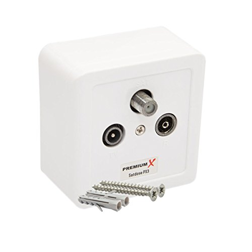 PremiumX PX3 Antennendose 3-Fach Enddose Antennen-Dose Einzel und Stichleitungsdose Aufputz Unterputz HDTV Full HD mit Zwei Schrauben und Dübel