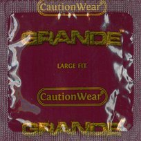 Caution Wear Grande with Silver Lunamax Pocket Case, Large Sized Latex Condoms-24 Count