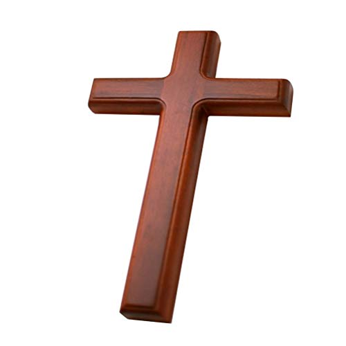 32cm Wooden Pendant Jesus Cross Craft Decor Wall Mounted Hanging Ornament Wall Decoration For Home Decor Gifts (Color : Dark Khaki)