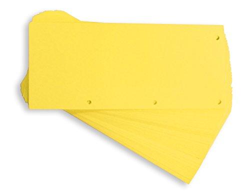 Oxford - Trennstreifen DUO aus recyceltem Karton, vollfarbig, gelocht, 10,5 x 24 cm, 160 g/m², 60 Stück, Gelb