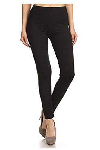 Leggings Depot Basic Solid Plain Full Leggings Stretch 128 (Black)
