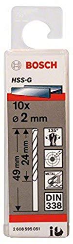 Bosch 2608595051 Din338 HSS-G Metal Drill Bit, 2.0mm x 24mm x 49mm, Silver