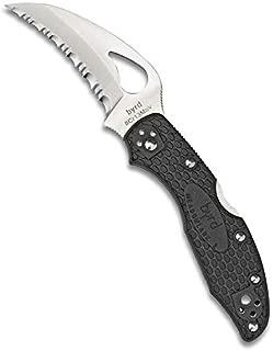 Spyderco Byrd Lightweight Folding Knife - Black FRN Handle with SpyderEdge, Hollow Grind, 8Cr13MoV Steel Hawkbill Blade - BY22SBK