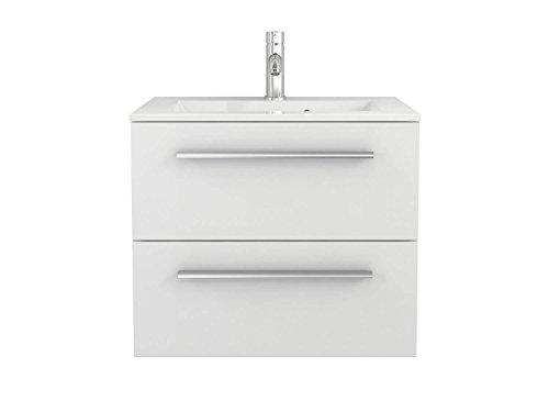 Waschtischunterschrank mit Waschbecken Libato 60 90 120 cm - weiß anthrazit Eiche grau Hochglanz - Badmöbel Badezimmermöbel Unterschrank hängend [Sieper Qualität aus Deutschland] (60, weiß)