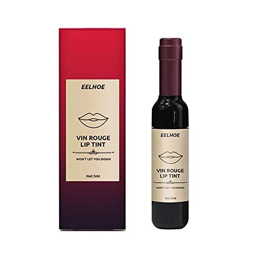 Lápiz labial mate con tinte, brillo de labios líquido de vino de larga duración, juego de tinte de labios a prueba de agua, alta reproducción de color, esmalte de labios hidratante creativo que no se