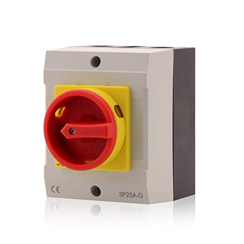 Hauptschalter Leistungsschalter 25A, IP 65, 3-polig im Gehäuse, Drehschalter für alle industriellen Anforderungen