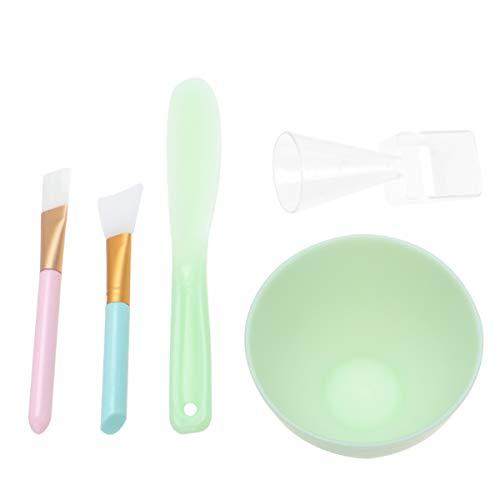Minkissy 5 Pcs Masque Facial Outils Ensemble Bol de Mélange Silicone Brosse en Plastique Bâton de Mesure Cuillère pour Dames Femmes Étudiants
