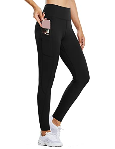 BALEAF Women's Fleece Lined Water Resistant Legging High Waisted Thermal Winter Hiking Running Tights Pockets Black Medium