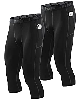Runhit 3/4 Compression Pants Men with Pockets 2 Pack  Running Pants Tights Leggings for Men Workout Athletic Base Layer Yoga Shorts