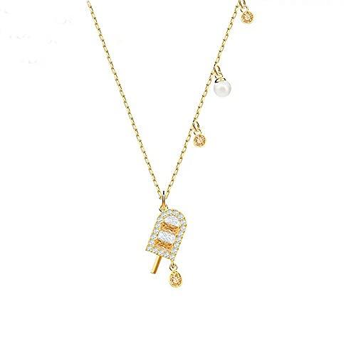 WYZXR Lzz Damen Halskette Schmuck U Typ Legierung Kristall Anhänger EIS am Stiel/Eiscreme/Geeignet für Mädchen ,Gold