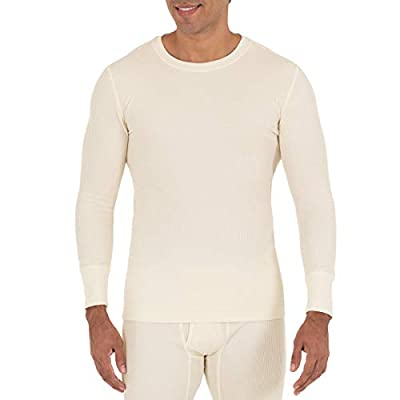 Fruit of the Loom Men's Recycled Waffle Thermal Underwear Crew Top (1 and 2 Packs), Natural, 3X-Large