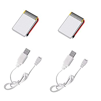 AVIALOGIC 2PCS 3.7V 500mAh Rechargeable Batteries and USB Chargers for Q9S Drone