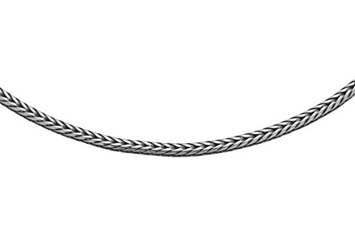 Tuscany Silver Women's Sterling Silver 1.6 mm Oxidised Round Foxtail Chain Necklace of Length 61 cm/24 Inch
