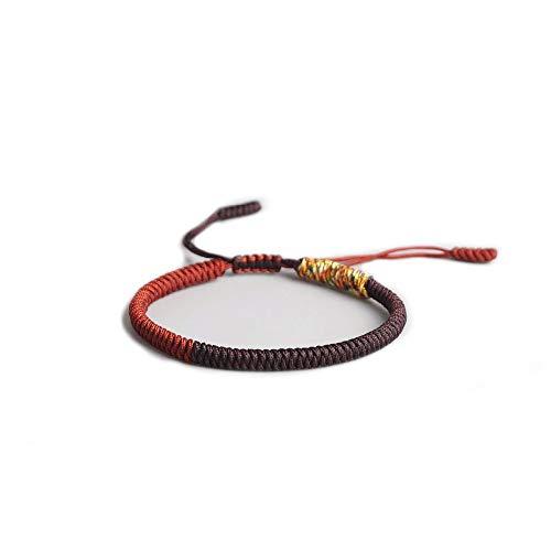 EXINOX Pulsera Tradicional Tibetana | Hombre Mujer | Nudos Espirituales Budistas (Roja)