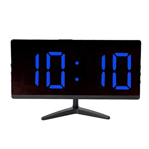 Ftory Reloj - Reloj Despertador Digital LED Multifuncional con Cargador de Pantalla de Temperatura(Luz Azul Negra)