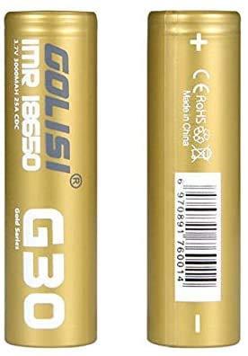 GOLISI G30 Batteries 18650 3000mAh 20A for Ecig Vape - Pack of 2