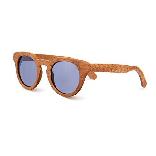 SUKUTU Hombres Mujeres Gafas De Sol De Bambú Hechas A Mano Gafas de Madera Polarizadas Moda Retro Al Aire Libre con Caja de Bambú SU039