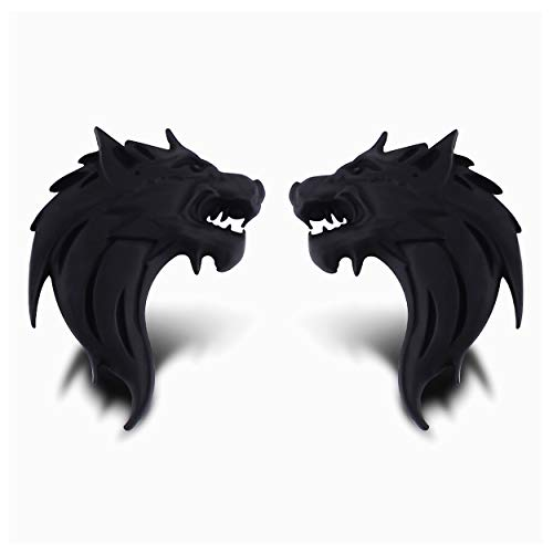 CaserBay 2Pcs/ Pair of 3D Metal Wolf Head Pattern Motorcycle Car Sticker Logo Emblem Badge Decals Decoration for Car Styling【Matt Black, Left & Right】