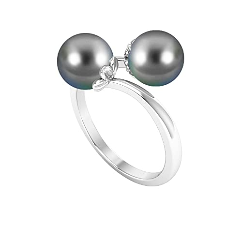 Anillo de 6 quilates de perlas de Tahití con 2 piedras (calidad AAA), 14K Oro blanco, perla tahitiana, Size:US 70