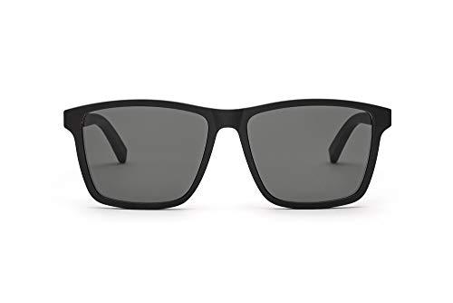 TAKE A SHOT – Große eckige Holz-Sonnenbrille Herren, Holz-Bügeln und Kunststoff-Rahmen, UV400 Schutz, rückentspiegelte Gläser - Tomte
