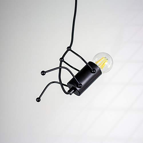 Barcelona LED LV418 Lampe suspension de plafond créative humanoïde vintage moderne Doll Art ampoule E27 pour chambre d'enfant, cuisine, bar, restaurant, café, paysager, noir