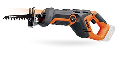 WORX WX508.9 Sierra de sable 20 V – Sierra de batería para cortar madera, piedra, etc. – Placa de pie ajustable, velocidad variable, luz LED, carrera de péndulo – Sin batería ni cargador