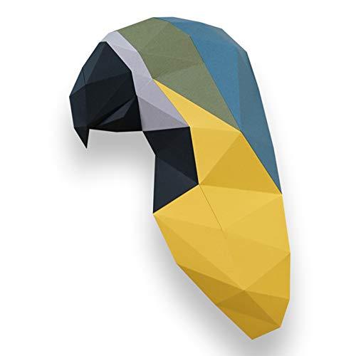 WLL-DP Escultura De Papel con Forma De Loro 3D, Modelo De Papel, Decoración De Pared Geométrica, Rompecabezas De Origami DIY, Juguete De Papel Precortado