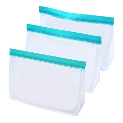 MERIGLARE 3pcs Reusable Gefrierschrank Taschen-Food Storage Taschen Dicht-Mittagessen Sandwich Taschen für Fleisch, Gemüse, Obst, Hafer, Spielzeug, Snacks - S