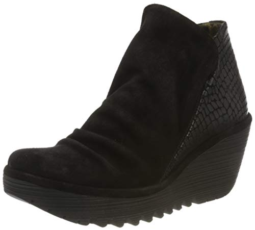 Fly London Yip Black Leather Womens Wedge Ankle Boots-40