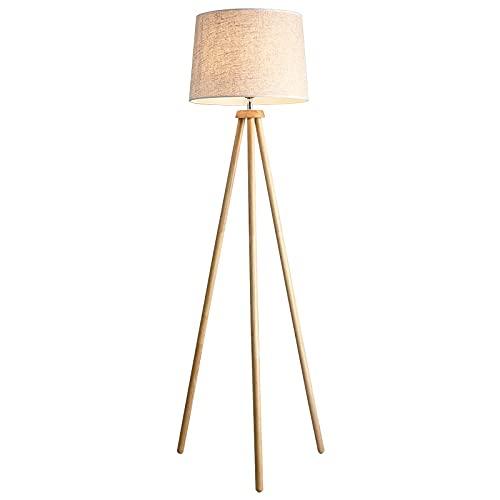 150 cm Trípode Lámpara de pie E27 Base Max.60W Estilo japonés de madera Cálido trípode moderno Luz de pie con tablero de tela for sala de estar estudio estudio