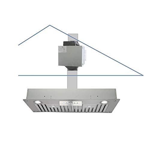 "Awoco Super Quiet Split Insert Stainless Steel Range Hood, 4-Speed, 800 CFM, LED Lights, Baffle Filters with 6"" Blower (30""W 6"" Vent)"
