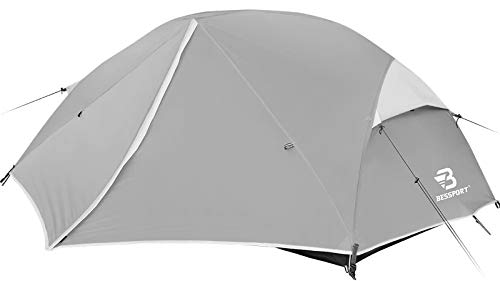 Bessport Camping Tent 3-4 Person, Easy & Quick Setup Lightweight Two Doors Backpacking Tent - Waterproof Anti-UV Protection Large Tent for Family, Outdoor, Hiking (3 Person-Grey)