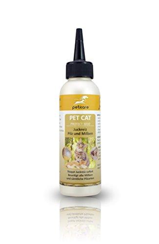 Peticare gatto lozione contro acari e prurito - Trattamento delle infestazioni da funghi e acari, elimina gli acari e la rogna, calma la pelle dei gatti - 100% Biologico - petCat Protect 3010 (100 ml)