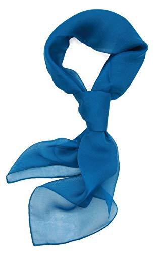 シルク 100% スカーフ 小さめ 【 SSサイズ 】 65×65cm バンダナ バッグ ネッカチーフ ポケット チーフ 首もと 暖か 選べる23色 (青の洞窟) 絹 UV 防寒 シフォン 天然素材 [Instyle Japan]