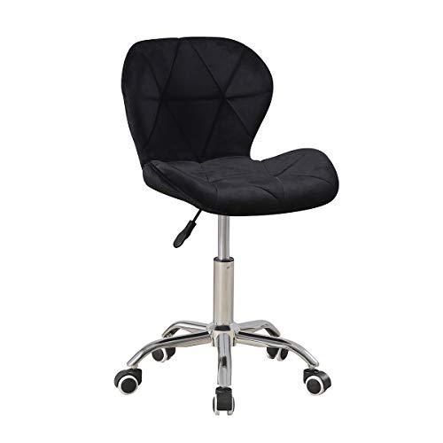 KEEPREAPER Schwarz Samt Bürostuhl Ergonomische Schreibtischstuhl Drehstuhl Keine Arme, Einstellbarer Rotationsheber,Chromstahl Basis (Schwarz B)