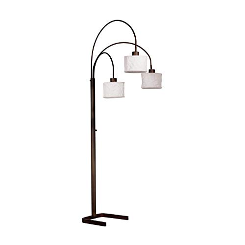 Kenroy Home Kenroy 30674ORB Transitional Three Light Floor Lamp from Crush Collection Dark Finish, 34.00 inches, Arc, Oil Rubbed Bronze