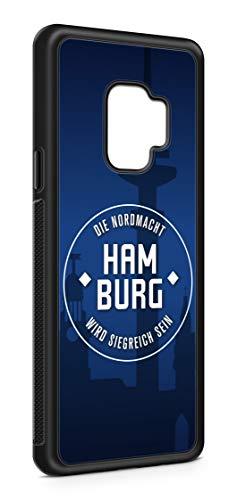 aina Kompatibel mit Samsung Galaxy S9 Silikon Handyhülle Flexibles Slim Case Hamburg Skyline Motiv Bild Schwarz