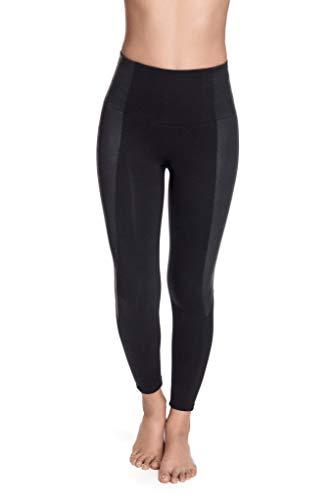 Squeem – Vibes chiques, legging feminina de couro sintético emagrecedor de cintura alta, Endless Black, 2X
