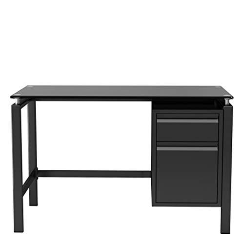 LLY Escritorio con 2 cajones de Mesa de 40 Pulgadas, Mesa de Cristal Templado, Mesa de Escritura Resistente Moderna, Adecuado para la Oficina en casa